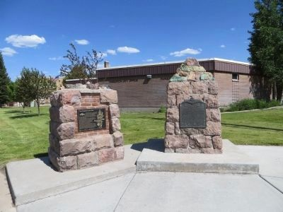 The Panguitch Quilt Walk Marker <i>on left</i> image. Click for full size.