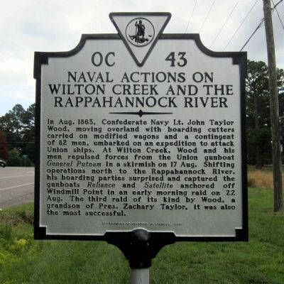 Naval Actions on Wilton Creek and the Rappahannock River Marker image. Click for full size.