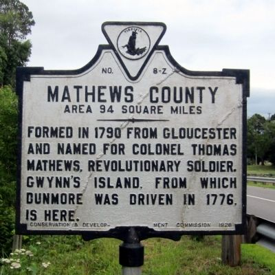 Mathews County Marker image. Click for full size.