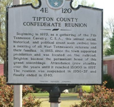 Tipton County Confederate Reunion Marker image. Click for full size.