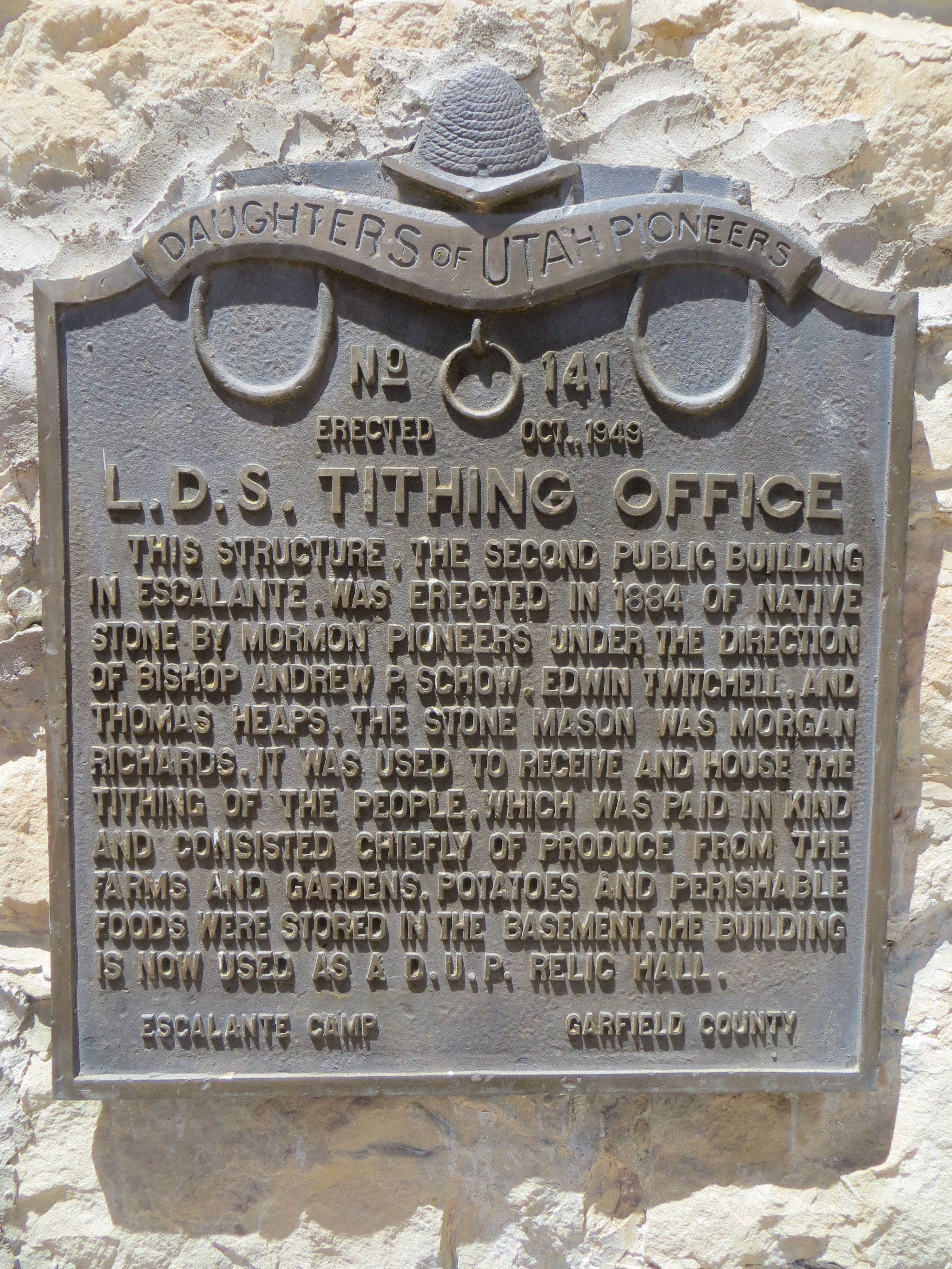 L.D.S. Tithing Office Marker