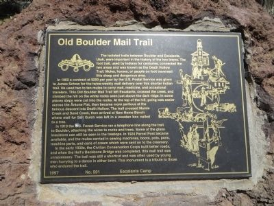 Old Boulder Mail Trail Marker image. Click for full size.