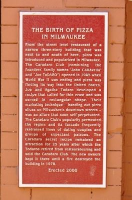 The Birth of Pizza in Milwaukee Marker image. Click for full size.