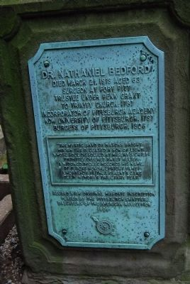 Dr. Nathaniel Bedford Grave Plaque image. Click for full size.