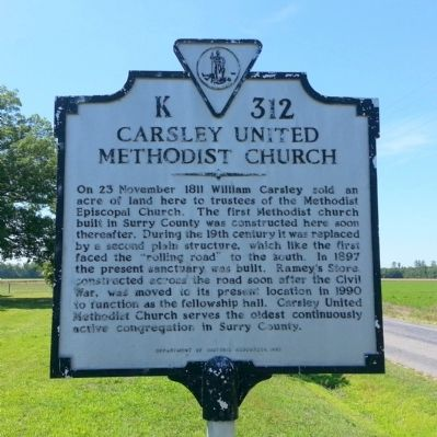 Carsley United Methodist Church Marker image. Click for full size.