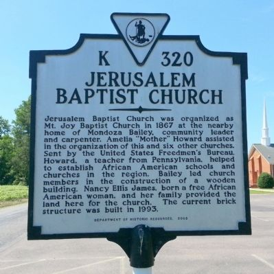 Jerusalem Baptist Church Marker image. Click for full size.
