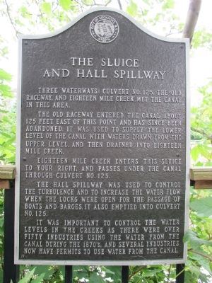 The Sluice and Hall Spillway Marker image. Click for full size.