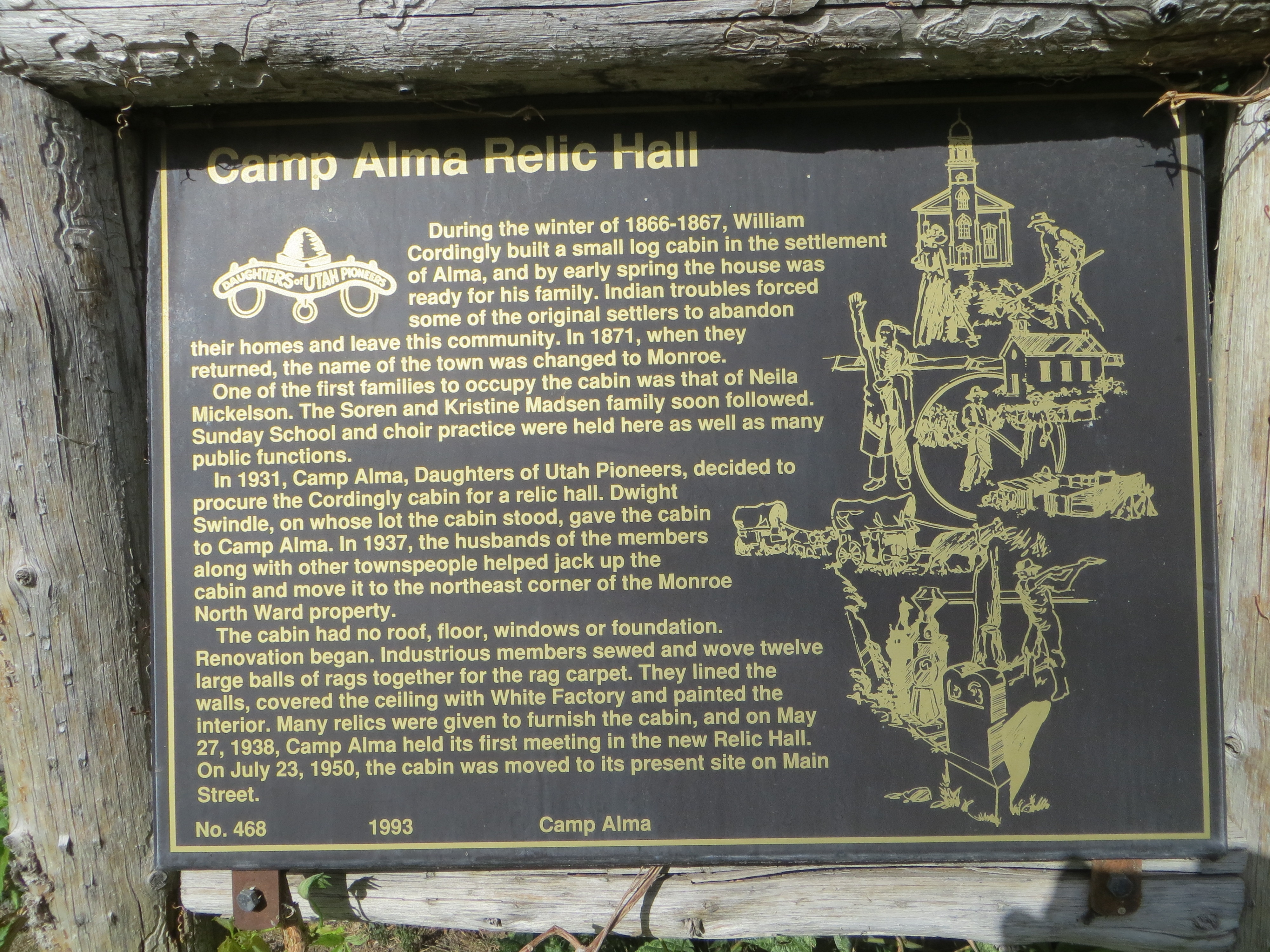 Camp Alma Relic Hall Marker