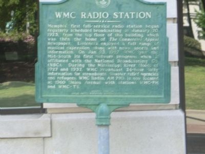 WMC Radio Station Marker image. Click for full size.