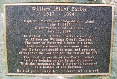 William (Billy) Barker Marker image. Click for full size.
