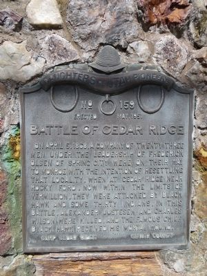 Battle of Cedar Ridge Marker image. Click for full size.