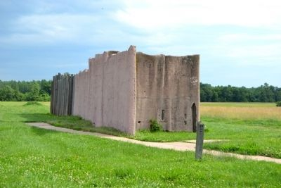 Reconstruction of Stockade Wall image. Click for full size.