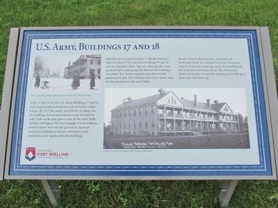 U.S. Army, Buildings 17 and 18 Marker image. Click for full size.
