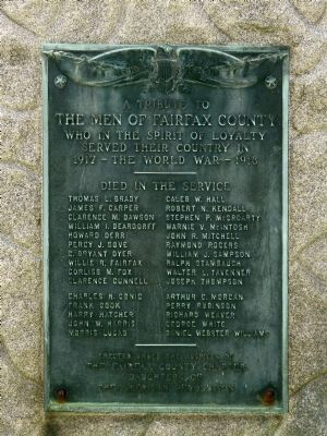 A Tribute to The Men of Fairfax County World War I Marker image. Click for full size.