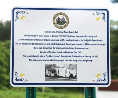 First Taylor County Jail Marker image. Click for full size.