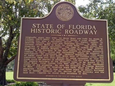 State of Florida Historic Roadway Marker image. Click for full size.