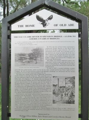 The Eau Claire River Suspension Bridge Marker image. Click for full size.