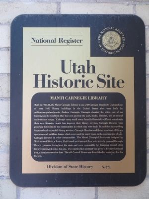 Manti Carnegie Library Marker image. Click for full size.