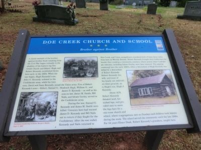 Doe Creek Church and School Marker image. Click for full size.