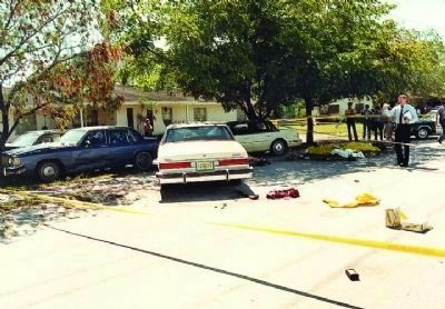 Crime scene photo of the infamous FBI Miami shootout image. Click for full size.