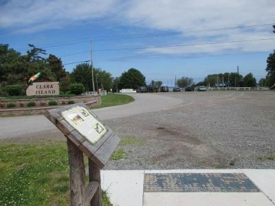 Clark Is. Stone Sign, Marker, Yacht Club Driveway and End of Sidewalk image. Click for full size.