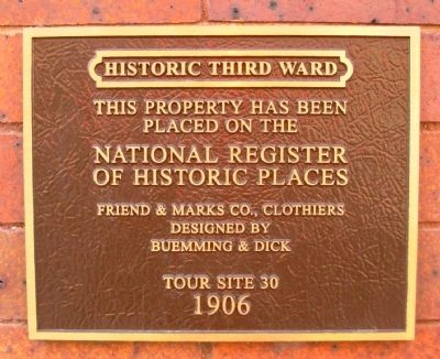 Friend & Marks Co., Clothiers Marker image. Click for full size.