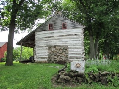 North Side Goodrich-Landow Log Cabin and Plaque image. Click for full size.
