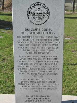 Eau Claire County Old Orchard Cemetery Marker image. Click for full size.