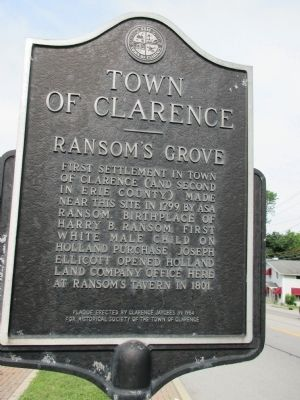 Town of Clarence - Ransom's Grove Marker image. Click for full size.