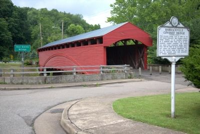 Barrackville Covered Bridge and Marker image. Click for full size.