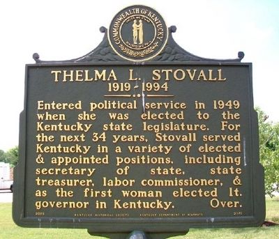 Thelma L. Stovall Marker (Side A) image. Click for full size.