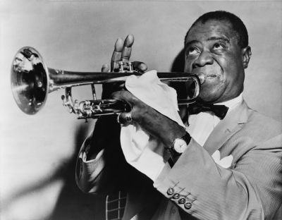 Louis Armstrong, Jazz Trumpeter image. Click for full size.