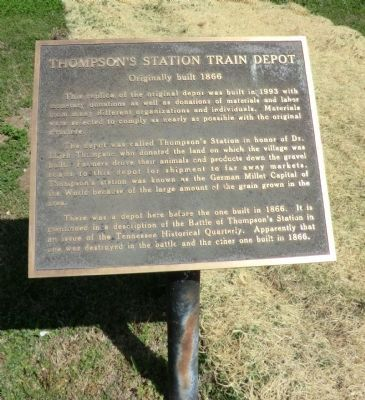 Thompson's Station Train Depot Marker image. Click for full size.