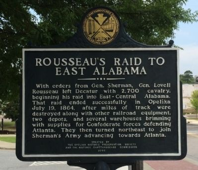Rosseau's Raid to East Alabama Marker image. Click for full size.