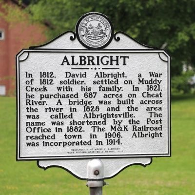 Albright Marker image. Click for full size.