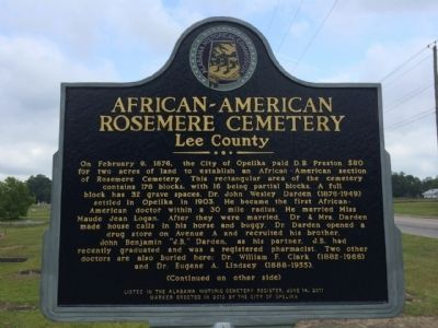 African-American Rosemere Cemetery Marker image. Click for full size.