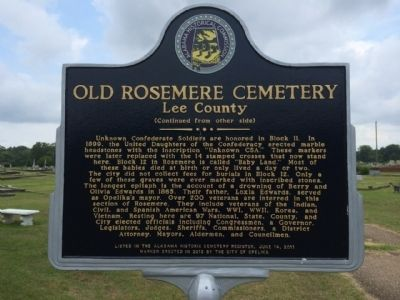 Old Rosemere Cemetery Marker (reverse) image. Click for full size.
