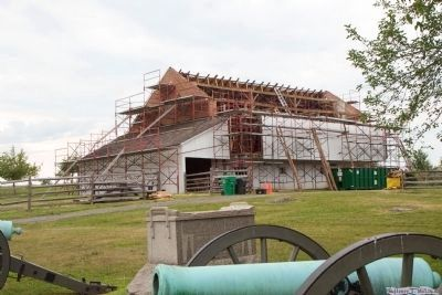 Trostle barn East side getting new 1863 style roof. July 2014. image. Click for full size.