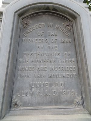 Pioneer Monument Marker <i>Front Plate:</i> image. Click for full size.