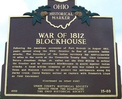 War of 1812 Blockhouse Marker close up image. Click for full size.
