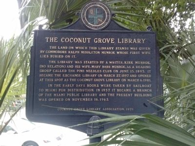 The Coconut Grove Library Marker image. Click for full size.