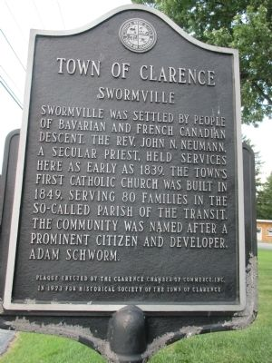 Town of Clarence - Swormville Marker image. Click for full size.