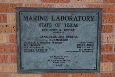 Marine Laboratory Dedication Plaque seen next to the door image. Click for full size.