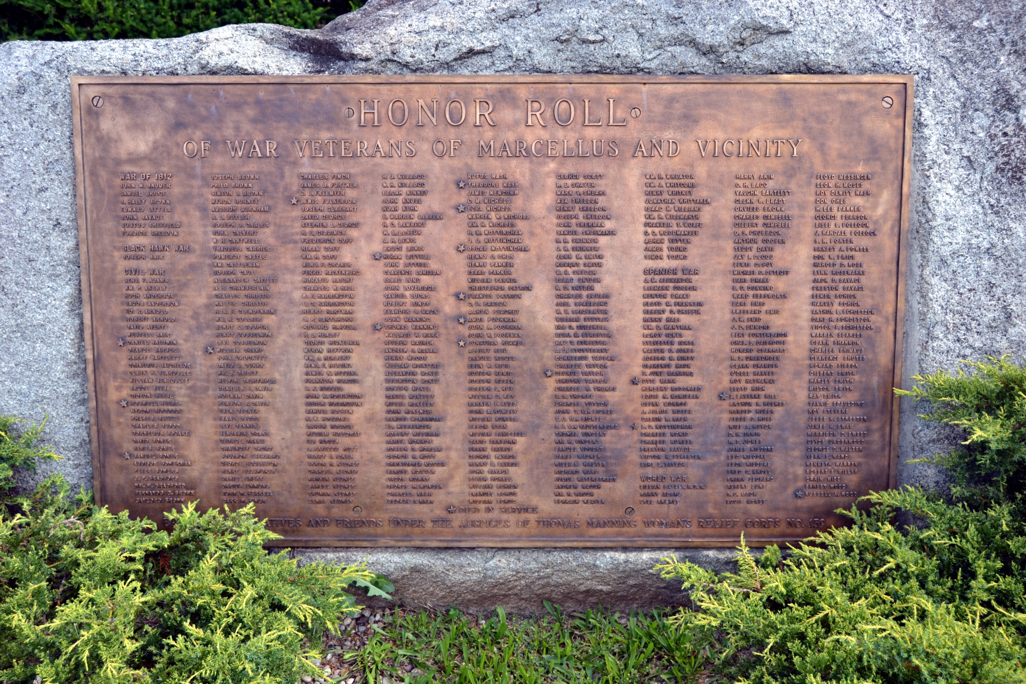 Honor Roll of War Veterans of Marcellus and Vicinity Marker