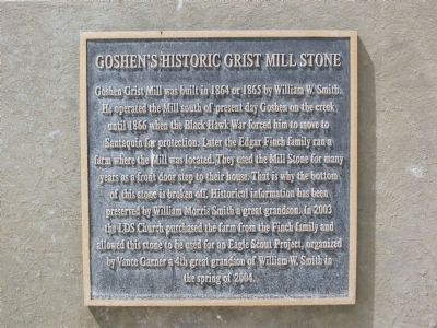 Goshen's Historic Grist Mill Stone Marker image. Click for full size.