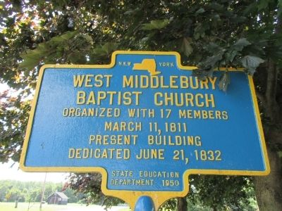 West Middlebury Baptist Church Marker image. Click for full size.