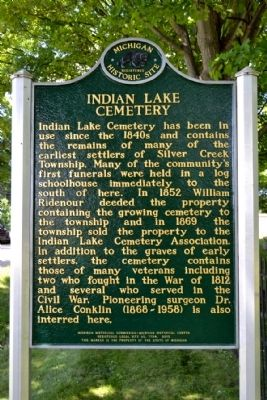 Indian Lake Cemetery Marker image. Click for full size.