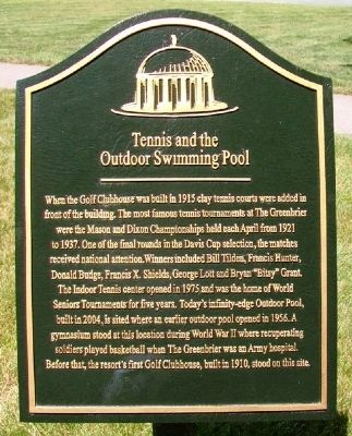 Tennis and the Outdoor Swimming Pool Marker image. Click for full size.