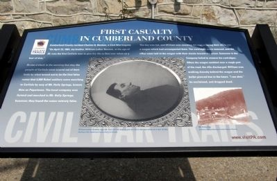First Casuality In Cumberland County Marker image. Click for full size.