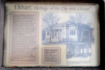 Elkhart Carnegie Public Library Marker image. Click for full size.